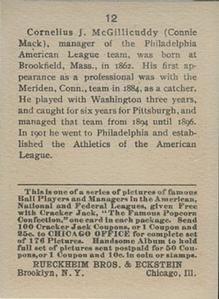 1915 Cracker Jack (E145) #12 Connie Mack Back