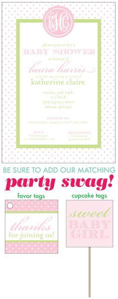 Sweet Baby Girl Monogram Shower .  Invite! So cute.