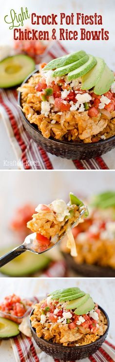 Light Crock Pot Fiesta Chicken & Rice Bowls - An easy weeknight dinner recipe, l., Crock Pot Fiesta Chicken & Rice Bowls - An easy weeknight dinner recipe, loaded with bold Mexican flavor, made in your slow cooker for a healthy. Crock Pot Slow Cooker, Crock Pot Cooking, Slow Cooker Recipes, Cooking Recipes, Healthy Recipes, Crock Pots, Meal Recipes, Fiesta Chicken, Chicken Rice