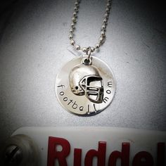 Football Mom Metal Stamped Necklace with Football Helmet Charm