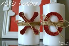 XOXO Candles - such a cute and simple Valentine's Day decoration!   Trending   2018 Trends