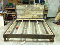 Rustic pine bed frame