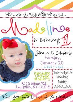 Rainbow Birthday Party Invitation. $12.00, via Etsy.