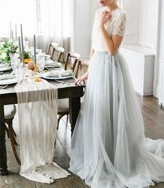 XP147 2017 Custom Made White Lace Prom Dress,Gray Chiffon Party Dress – FashionDressGallery
