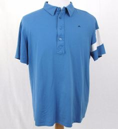 J Lindeberg Shirt XL Golf Polo Blue 100% Cotton Athletic Performance Embroidered #JLindeberg #PoloRugby