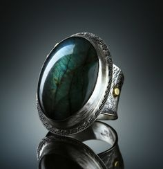 Labradorite Ring. Fabricated Sterling Silver and 18k. www.amybuettner.com https://www.facebook.com/pages/Metalsmiths-Amy-Buettner-Tucker-Glasow/101876779907812?ref=hl https://www.etsy.com/people/amybuettner http://instagram.com/amybuettnertuckerglasow