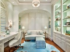 Office. Built-in home office/desk. Lovely backlit bookcases. A restful place to work. House of Turquoise.