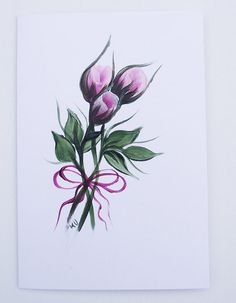 Pink Rose Hand Painted Greeting Card by KarenUnderwoodArt on Etsy, £3.50