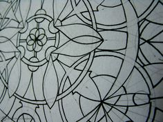 This is a detail of I piece that I have been working on just to show all of the pencil reference line that help to create this intricate pieces. They all get erased before I begin colouring.