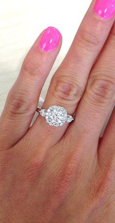 "Ben Garelick Royal Celebrations ""Lourdes"" Diamond Halo Engagement Ring Featuring 0.52 Carats Diamonds"