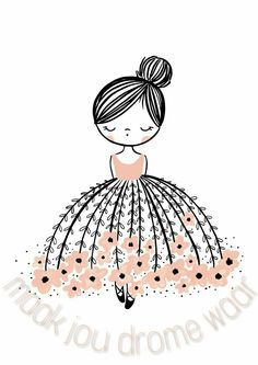 flower dresses Oh, the stunning Flower Dress Dreamer. This modern wall art illustration with a pop of pink is the perfect design. Doodle Art, Doodle Drawings, Easy Drawings, Art And Illustration, Ballerina Illustration, Girl Illustrations, Art Mignon, Inspiration Art, Pop Design