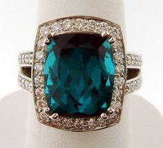blue tourmaline and diamonds in white gold. #jewelry
