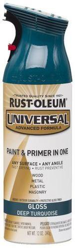 Rust-Oleum® Universal® Gloss Deep Turquoise Paint and Primer Spray - 12 oz at Menards®: Rust-Oleum® Universal® Gloss Deep Turquoise Paint and Primer Spray - 12 oz
