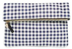 Clare V. Gingham Leather Foldover Clutch - Blue