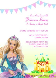 Barbie Princess Birthday Invitation Template