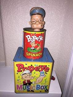 1953 Mattel POPEYE Spinach Can Jack in the Box Music Box Tin Litho