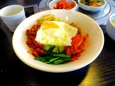 Bibimbap (South Korean Food)  http://www.adventureliesinfront.com/my-food-adventures-in-south-korea-what-to-eat-and-where-to-eat-it/