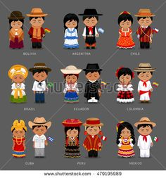 People in national dress. Bolivia, Argentina, Chile, Brazil, Ecuador, Colombia, Cuba, Peru, Mexico. Set of Latin-American pairs dressed in traditional costume. National clothes. Vector illustration.