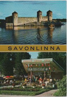 Postcard Savonlinna, Finland 1970s Vintage Postcards, Finland, 1970s, Restaurant, Mansions, House Styles, Vintage Travel Postcards, Fancy Houses, Restaurants