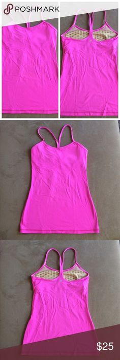 Lululemon pink power Y tank size 4 This pink power Y tank is gently used. Very clean! lululemon athletica Tops Tank Tops