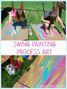 Swing Painting (via Homegrown Friends) How fun is this? Combine one of kids' favorite activities with some easy process swing painting. Preschool Art, Craft Activities For Kids, Summer Activities, Preschool Activities, Crafts For Kids, Process Art Preschool, Painting Activities, Preschool Painting, Children Painting