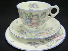 A lovely Royal Stafford tea trio from the deco period Grey print pattern of hydrangea type flower sprays coloured in blues and pinks amongst green