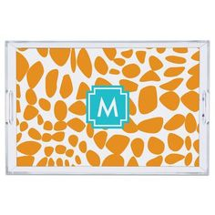 """Whitney English Lizard Lucite Single Initial Tray Letter: N, Size: 2.25"""" H x 6"""" W x 6"""" D"""