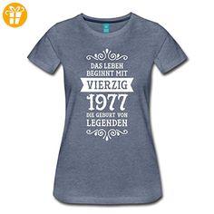 40. Geburtstag 1977 Leben Beginnt Mit Vierzig Frauen Premium T-Shirt von Spreadshirt®, M, Blau meliert - Shirts zum geburtstag (*Partner-Link)