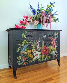 This gorgeous piece was painted in Annie Sloan oxford navy. I then put on the midnight garden transfer from IOD. It was sealed with Annie Sloan clear wax.  This piece sold but I create custom pieces for clients all throug the US so just send me an email through my website. Decoupage Furniture, Funky Furniture, Custom Furniture, Vintage Furniture, Painted Furniture, Dark Blue Flowers, Navy Paint, Midnight Garden, Painting Cabinets