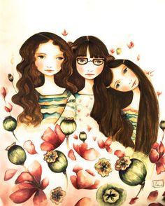 El arte de 3 hermanas impresión con gafas y cabello castaño