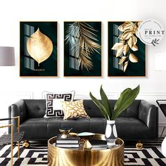 Golden Tropical Botany Luxury Nordic Wall Art Black & Gold Palm Leaves Fine Art Canvas Prints Pictures For Office Living Room Bedroom Modern Home Decor – Modern Home Office Design Glam Living Room, Living Room Bedroom, Bedroom Decor, Bedroom Modern, Art Deco Living Room, Living Room Decor Gold, Nordic Living Room, Living Room Themes, Wall Decor