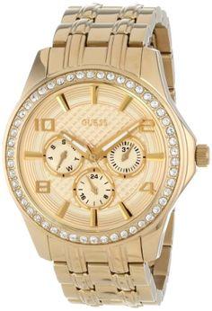 GUESS Women's U0147L2 Gold-Tone Polished Glamour Watch