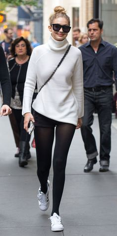 39 Chic Celebrity Looks That Have Us Saying Yes to Tights - Gigi Hadid, 2015  - from InStyle.com