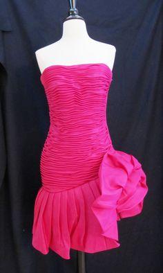 3dec7f8d2f1b Ruched Cocktail 80s Vtg Strapless Bustier Dress by GabiLu91, $149.00  Strapless Bustier, Bustier Dress