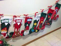 1001 Feltros: Meias e gorros de Natal.