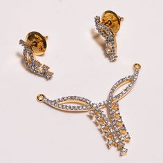 18 Cts.Vermeil Gold Plated  Cubic Zirconia Handmade Pandant Set Jewelry SF163…