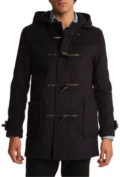 $402, Navy Duffle Coat by Gloverall. Sold by Menlook. Click for more info: http://lookastic.com/men/shop_items/19542/redirect