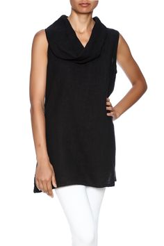 A-line shaped tank has a light, feminine cowl neck, side slits, relaxed drape and an easy fit. Machine wash, hang dry.   Linen Cowl Tunic by Fenini. Clothing - Tops - Sleeveless Florida Tampa, Florida