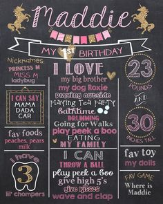 Unicorn First Birthday Chalkboard Poster - Unicorn Pink and Glitter 1st Birthday Chalk Board Sign - Gold Unicorn 1st Birthday Chalkboard