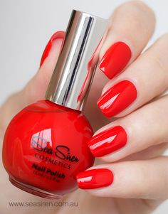 CABIN FEVER is a tomato red crème gloss nail polish. Cruelty Free & Vegan Friendly. CCF Accredited. 5 Free. UV & Chip Resistant. Premium, salon quality formula. Made in Australia.
