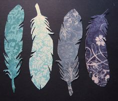SINGLE Feather Bookmarks: Cool Colors. $2.00, via Etsy.