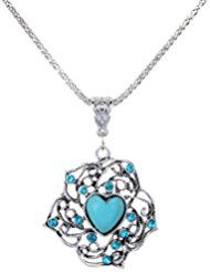 YAZILIND eleganterosaturquesade diamantes deimitacióncolgantecollar