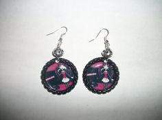 Draculaura Monster High Bottle Cap Earrings by NocturnalFashions, $7.00