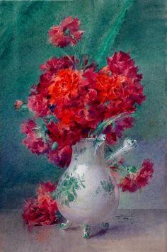 Oeillets rouges dans un vase de Moustiers - Blanche Odin Art Floral, Winged Serpent, Life Paint, Carnations, Amazing Gardens, Watercolor Flowers, Colored Pencils, Flower Art, Photos