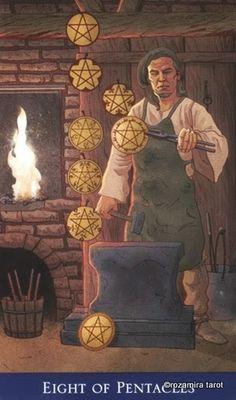 Eight of Pentacles - Llewellyn's Classic Tarot Oracle Reading, Tarot Reading, Barbara Moore, Easy Deck, Hero's Journey, Cartomancy, Pentacle, Oracle Cards, Tarot Decks