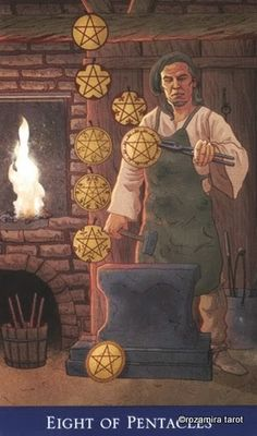 Eight of Pentacles ~ Llewellyn's Classic Tarot