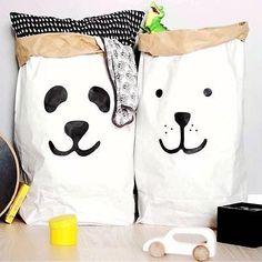 Fashion Heavy Kraft Paper Storage Bags Laundry Bag Toys Clothes Organizer OZ