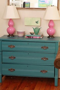 Benjamin Moore's Calypso Blue Dresser...I love these lamps