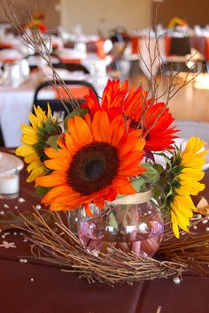 You can decorate your wedding tables in different ways. By using soft fabrics in any color you like to cover wedding tables, you can surely increase the Twig Wedding Centerpieces, Fall Wedding Table Decor, Sunflower Centerpieces, Wedding Table Centerpieces, Ceremony Decorations, Centerpiece Ideas, Wedding Tables, Wedding Ideas, Fall Decorations