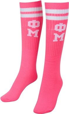 Keep you feet nice and toasty with this comfy Phi Mu tube socks. If it's a pj day or whether you need some long socks for your boots, these will keep your toes warm.